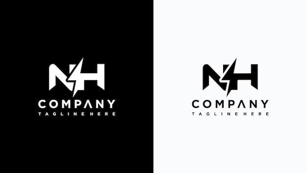 Letra inicial nh diseño de logotipo de electricidad