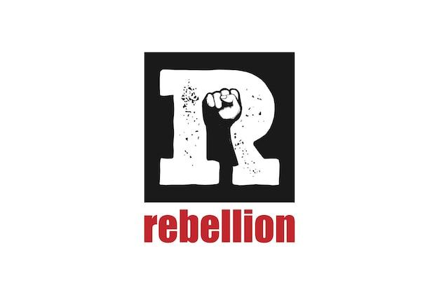 Letra inicial r con puño cerrado para vector de diseño de logotipo rebel rebellion