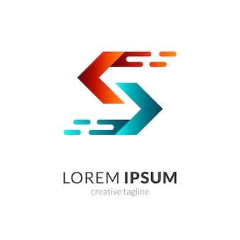 Letra inicial s + flecha plantilla de logotipo de empresa