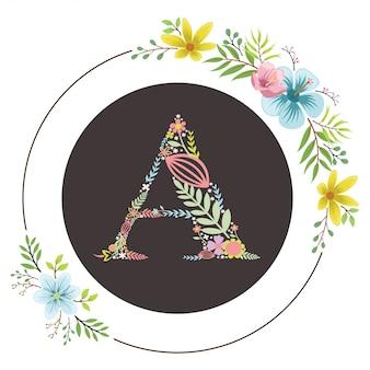 Letra a inicial con vector floral
