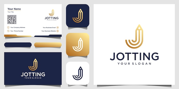 Letra j creativa con inspiración de diseño de logotipo de concepto de lápiz. y diseño de tarjetas de visita