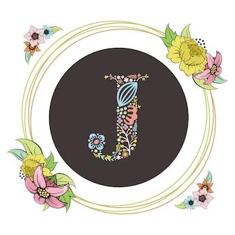 Letra j inicial con vector floral