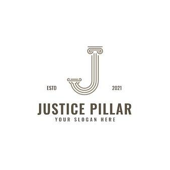 Letra j logo justicia y bufete de abogados pilar bold professional line art