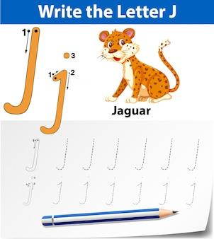 Letra j trazando hojas de ejercicios del abecedario