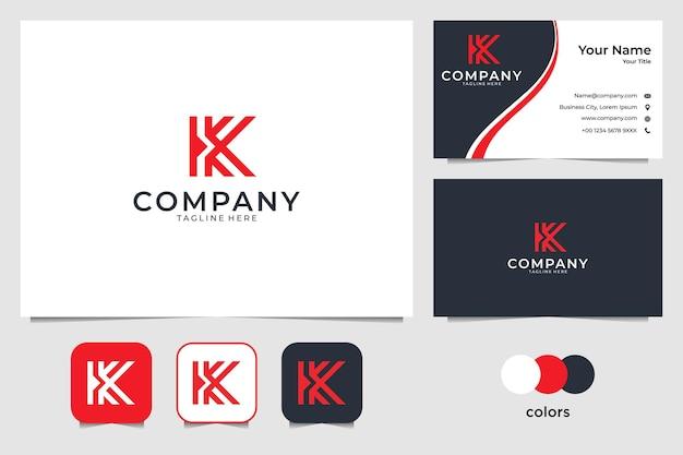 Letra k con diseño de logotipo flecha roja y tarjeta de visita