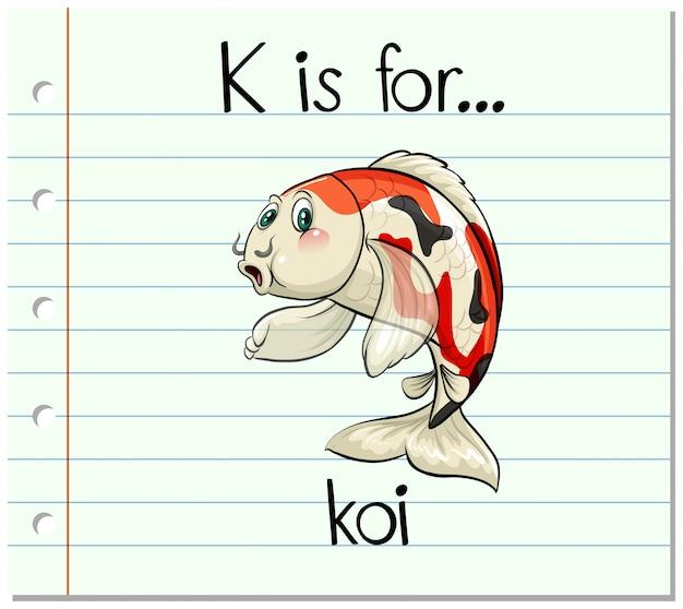 La letra k de la flashcard es para koi