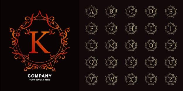 Letra k o alfabeto inicial de colección con plantilla de logotipo dorado de marco floral de adorno de lujo.