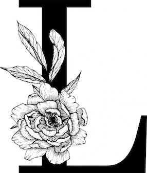 Letra l, alfabeto floral