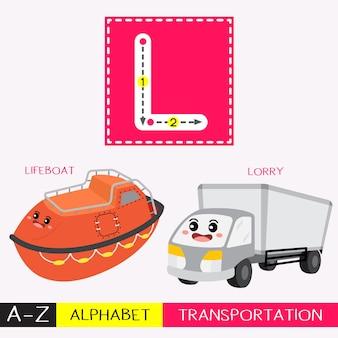 Letra l mayúscula trazando el vocabulario de transportes