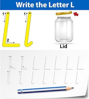 Letra l trazando hojas de trabajo del abecedario