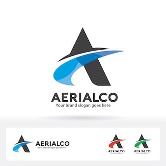 Letra a logo con swoosh en tono de color