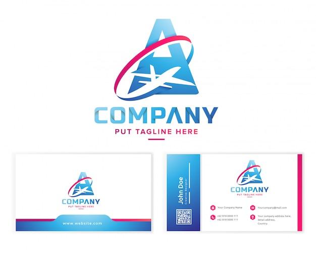 Letra a con logotipo de avión con tarjeta de visita de papelería