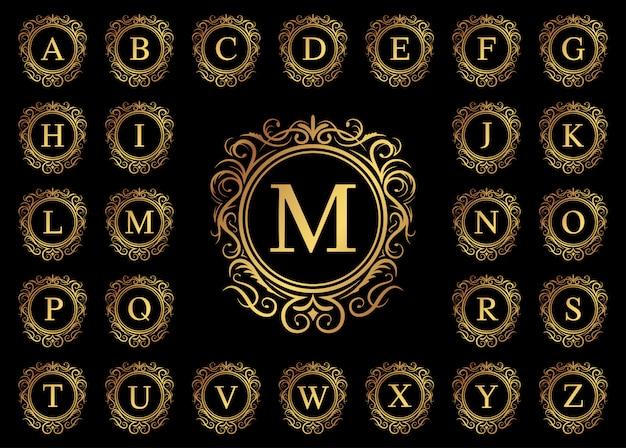 Letra de lujo dorado de la a a la z sobre fondo negro