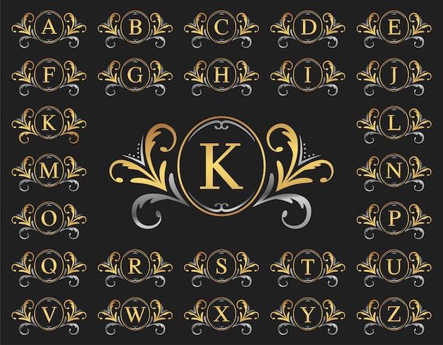 Letra de lujo de oro y plata de la a a la z