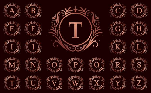 Letra de lujo de oro rosa de la a a la z sobre fondo rojo