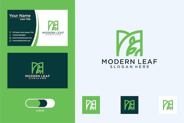 Letra m con diseño de logotipo de hoja y tarjeta de visita.