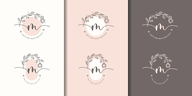 Letra m femenina con plantilla de logotipo de marco floral