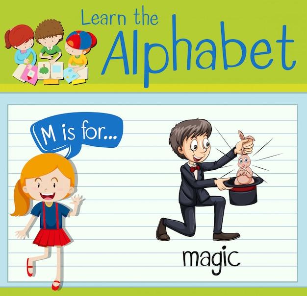 La letra m de la flashcard es para la magia