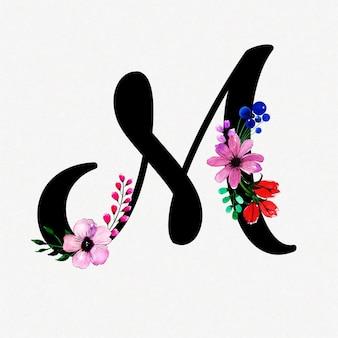 Letra m fondo floral acuarela