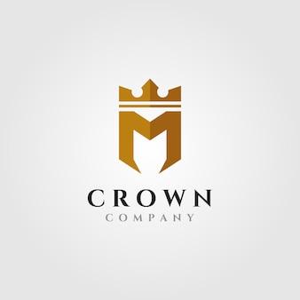 Letra m con ilustración del logo de corona