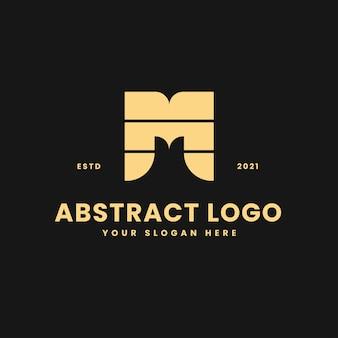 Letra m lujoso bloque geométrico dorado concepto logo vector icono ilustración