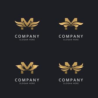 Letra m con plantilla de logotipo de ala abstracta de lujo