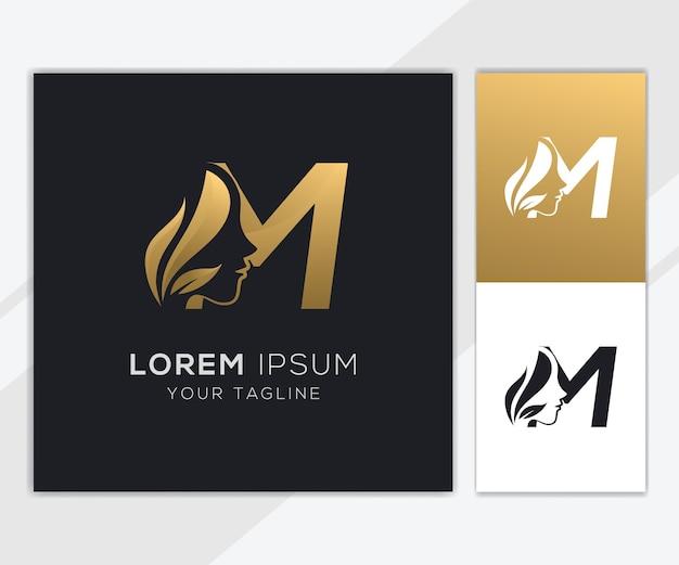 Letra m con plantilla de logotipo de belleza femenina natural de lujo