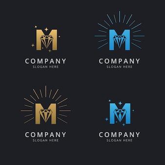 Letra m con plantilla de logotipo de diamante abstracto de lujo