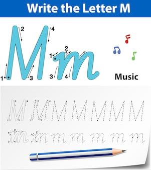 Letra m trazando hojas de ejercicios del abecedario