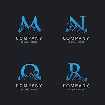 Letra mno y r con plantilla de logotipo de montaña abstracta