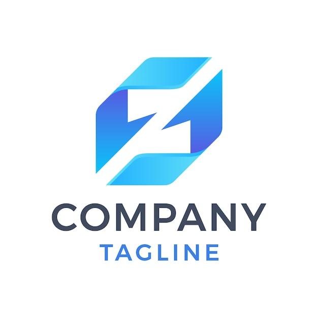 Letra moderna geométrica abstracta sz flecha azul cambio de cinta reciclar diseño de logotipo degradado