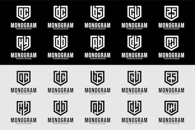 Letra de monograma con colección de diseño de logotipo de escudo