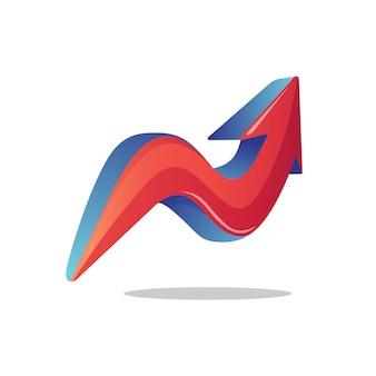 Letra n flecha logotipo
