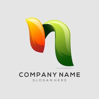 Letra n logo diseño vector premium