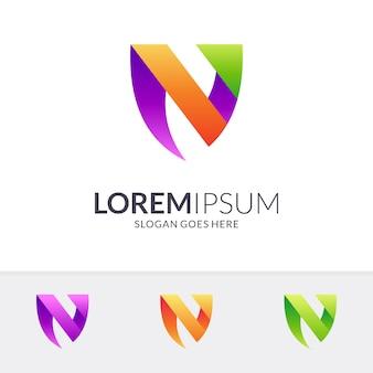 Letra n + logotipo de escudo
