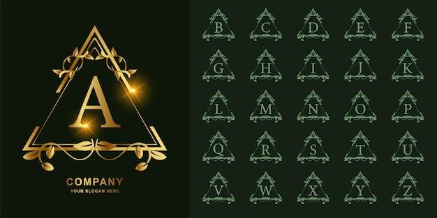 Letra a o alfabeto inicial de colección con plantilla de logotipo dorado de marco floral de adorno de lujo.