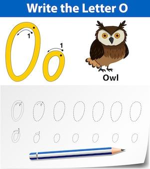 Letra o trazando hojas de ejercicios del abecedario
