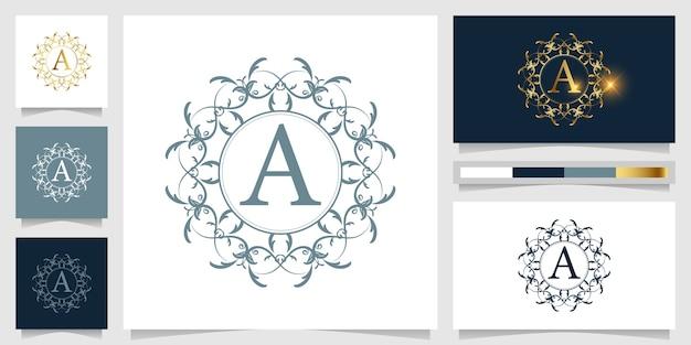 Letra a ornamento de lujo o plantilla de logotipo de marco floral con diseño de tarjeta de visita.