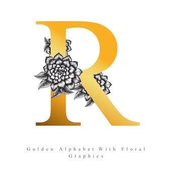 Letra de oro del alfabeto r Vector Premium