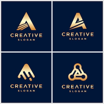 Letra de oro premium un logotipo para empresa