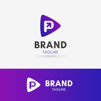 Letra p flecha logotipo