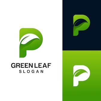 Letra p con logo de hoja