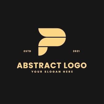 Letra p, lujoso, oro, bloque geométrico, concepto, logotipo, vector, icono, ilustración