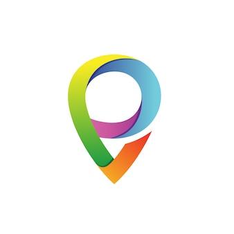 Letra p con puntero forma logo vector
