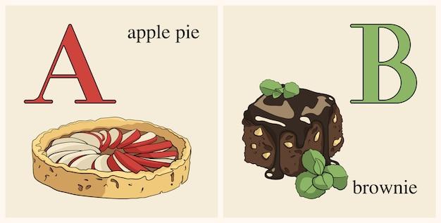 Letra a con pastel de manzana