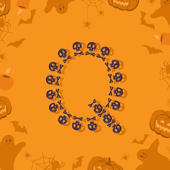 Letra q de halloween de calaveras y tibias cruzadas para diseño fuente festiva para vacaciones y fiesta en orang ...