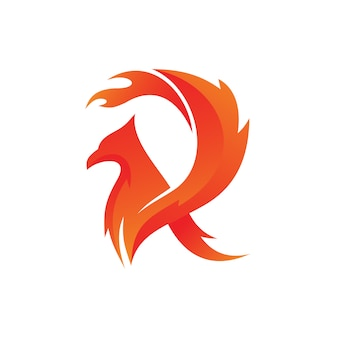 Letra r fire bird logo vector