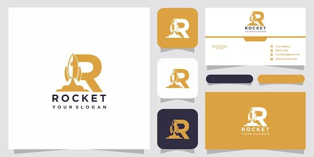 Letra r con plantilla de logotipo de cohete abstracto de lujo