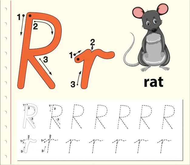 Letra r trazando hojas de ejercicios del abecedario