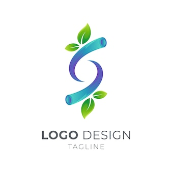 Letra s con el concepto de logotipo de ramas de hoja